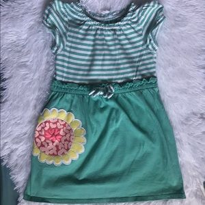 Circa Green and White with Flower Dress Size 3T